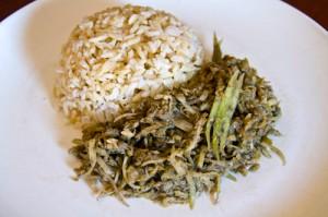 Khmer food: Svay bok Trai cha-aa