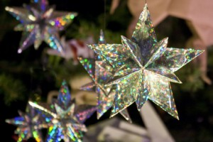 Origami Ornaments on the Christmas Tree at the American Museum o