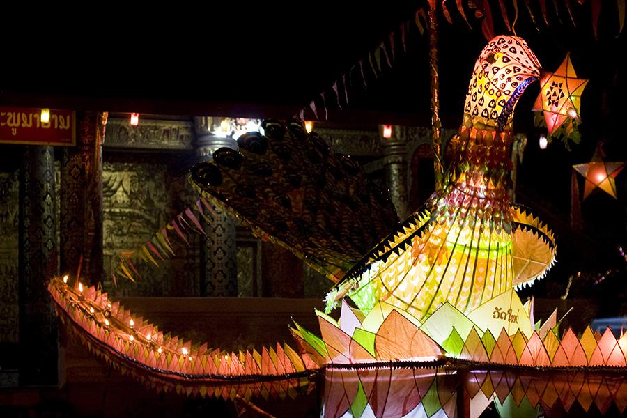 Illuminated boat for Bun Awk Phansa (Ok Watsa, Full Moon) festival at Wat Mai Suwannaphumaham