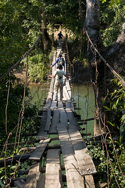 Bridge over stream heading toward the Lao Thoeng (Khmu) village of Na Sala