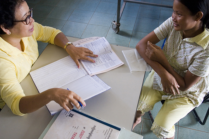 Healthcare Practitioner consulting an expectant mother at Treal Health Center in Baray-Santuk Operational District