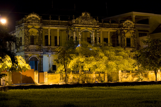 Colonial Building at night in Phnom Penh