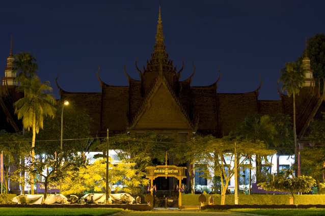 National Museum at night in Phnom Penh